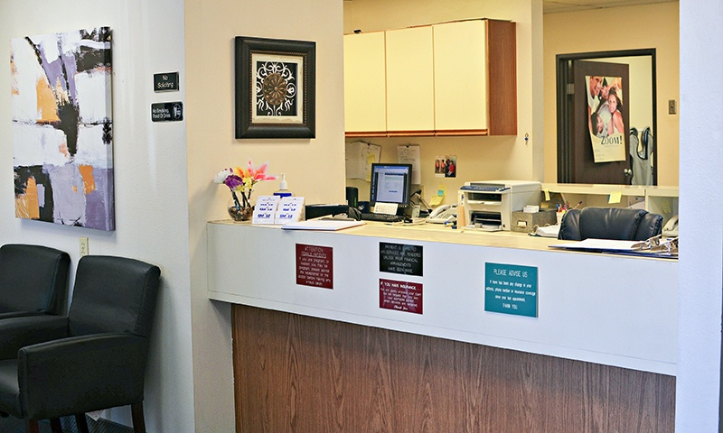 Front desk and dental waiting area