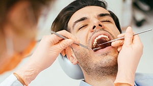 Relaxed man during dental exam